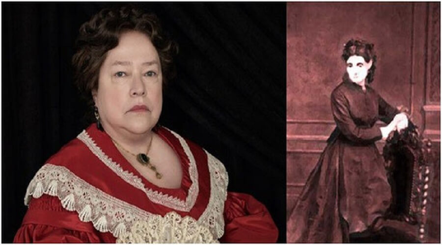 Kathy Bates in character for American Horror Story: Coven (left) and a painted image of Madame Dephine Lalaurie.