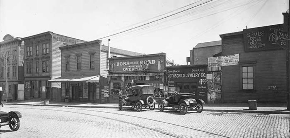 Irish Hill, 20th Street businesses in 1918.